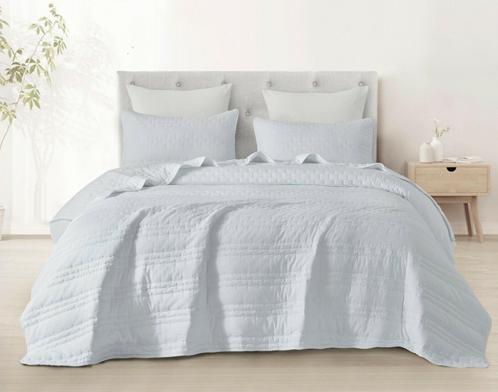 3pc quilted coverlet set stonish bedspread stone