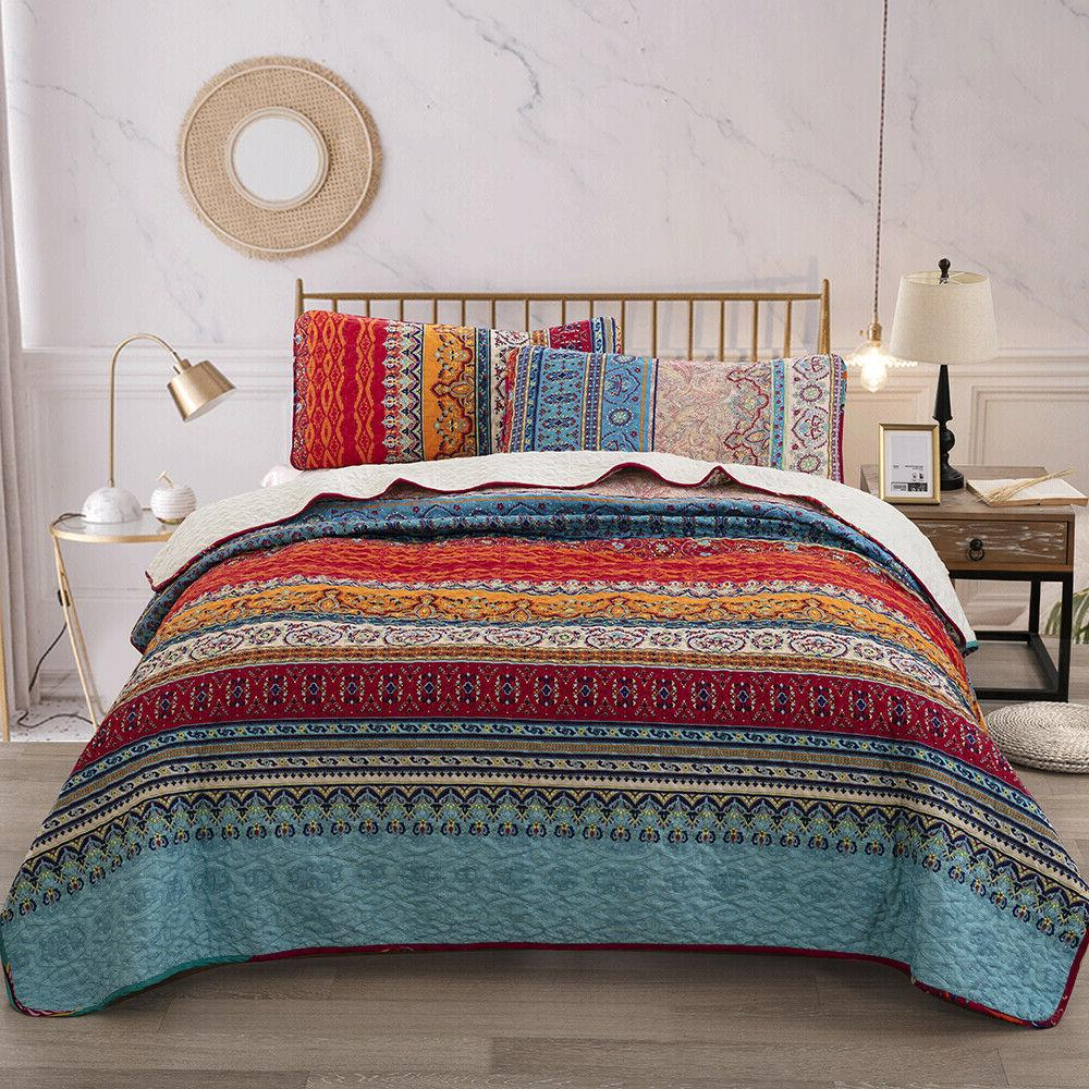 Lightweight Ethnic Printed Warm Soft Bedspread Coverlet Set