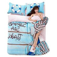 4 Piece Bedspread Set Bed Coverlets Sea of love Printing Bed
