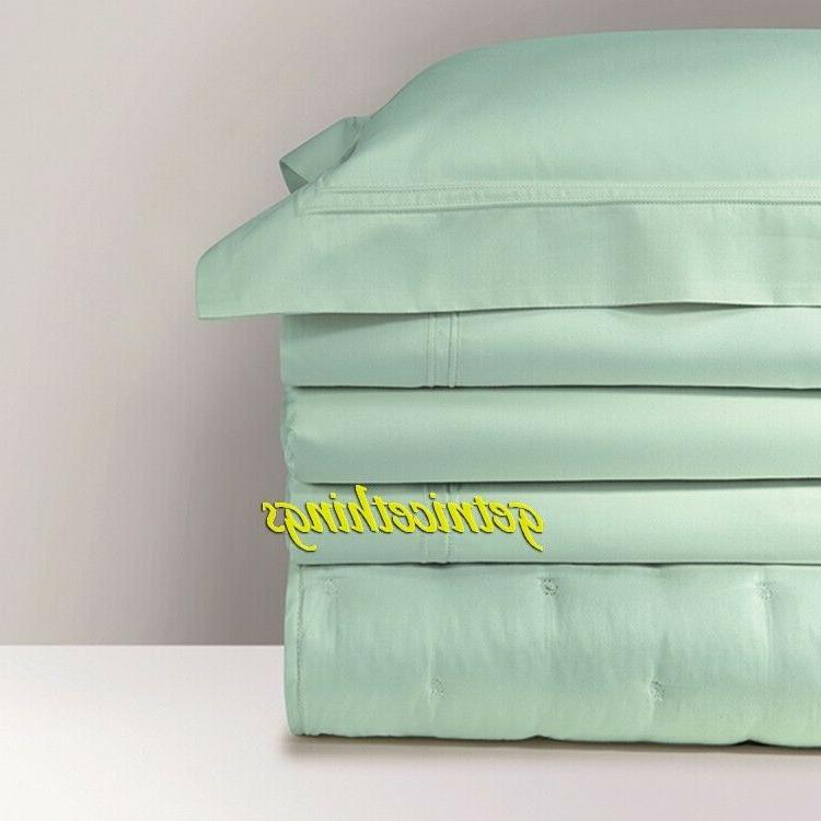 $670 Yves Glace Blue F/Q Quilted Coverlet Cotton