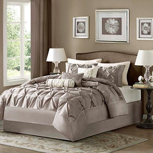 Madison Park Size Comforter Bed in A - Taupe, Wrinkle Tufted Pleated – Bedding Sets – Faux Silk Bedroom