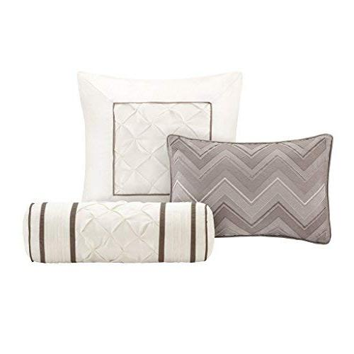 Madison Size Bed Comforter Set Bed A - Taupe, Wrinkle Tufted Pleated – 7 Bedding Silk