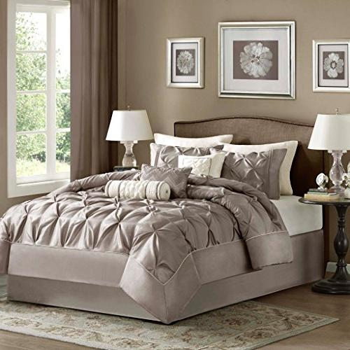 Madison King Size Comforter Bed - Pleated 7 Bedding Sets – Silk Bedroom Comforters