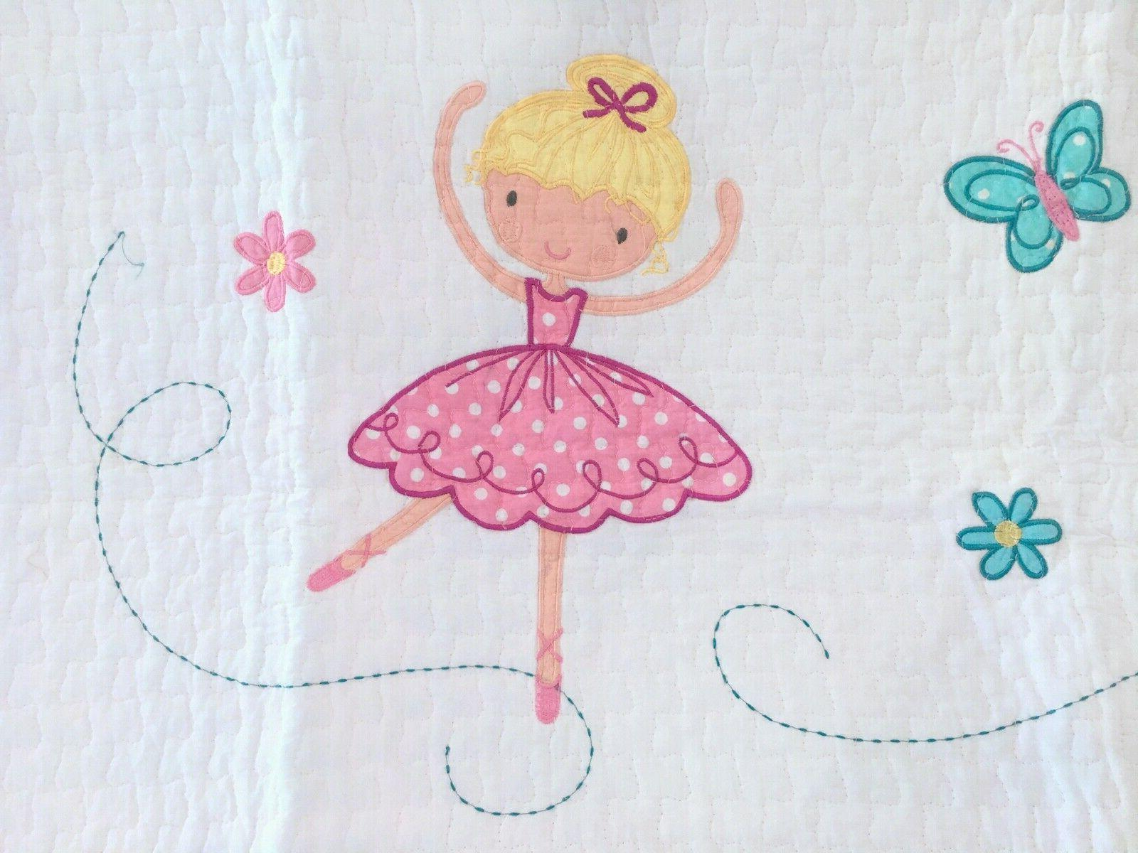 Ballerina Girls Reversible Cotton Quilt Set, Bedspreads,