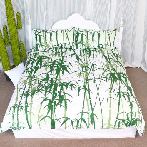 Arightex Bamboo Pattern Duvet Cover Green Leaves Bedding 3D