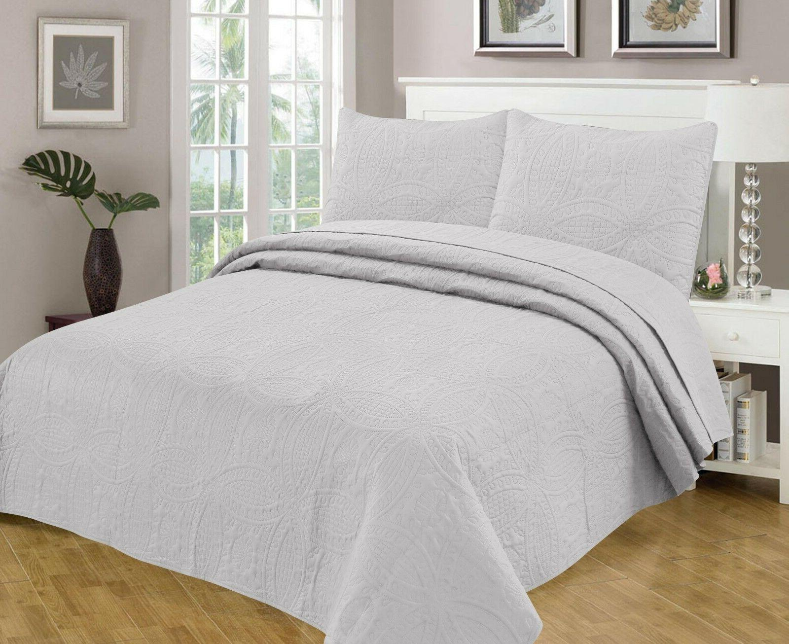 Bedspread Coverlet 3 Pcs Set Oversize Queen or King Size 8 C