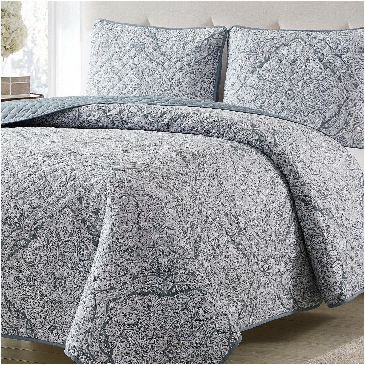 Mellanni Bedspread Coverlet Set 3 Piece Medallion Quilt Set Oversized Bed Cover