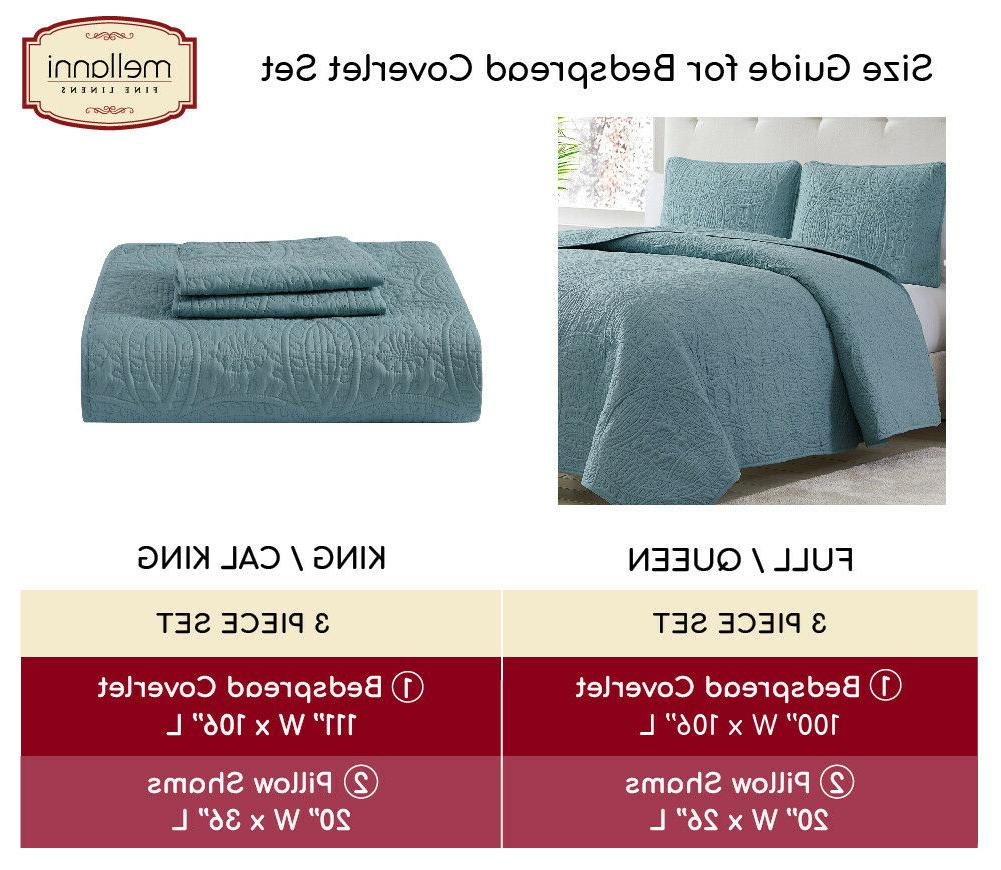 Mellanni Coverlet Set 3-Piece Oversized Bed Cover, Ultrasonic