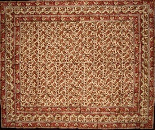 "Block Print Tapestry Cotton Spread 108"" x 88"""