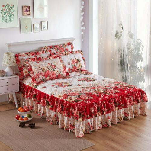brushed cotton flowers thick queen ruffled bed