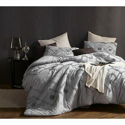 BYB Ruffled Chevron Textured Oversized Comforter - Glacier G
