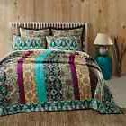 Capri 100% Cotton Bohemian King Quilt Multicolor Floral Stri