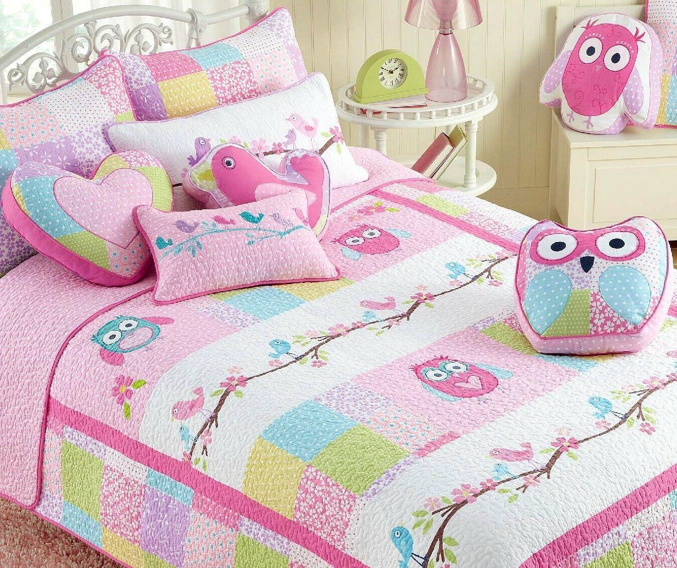 carwile owl reversible cotton quilt set bedspreads