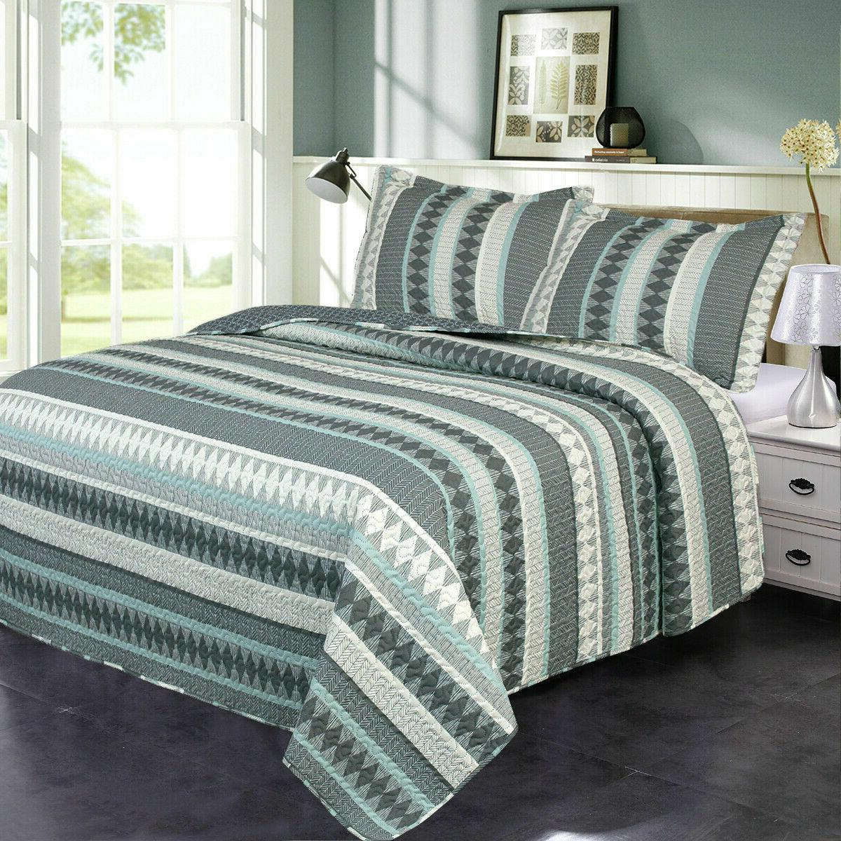 3-Piece Patchwork Quilt Reversible Bedspreads