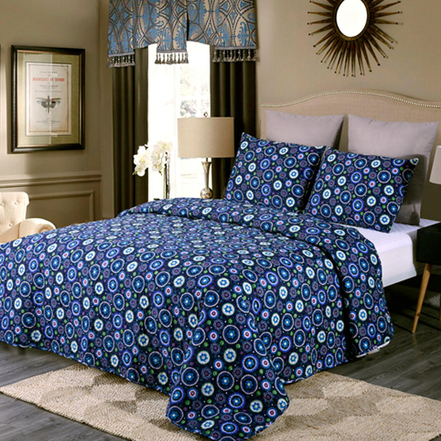 3-Piece Blooming Floral Patchwork Quilt Set Bedspreads