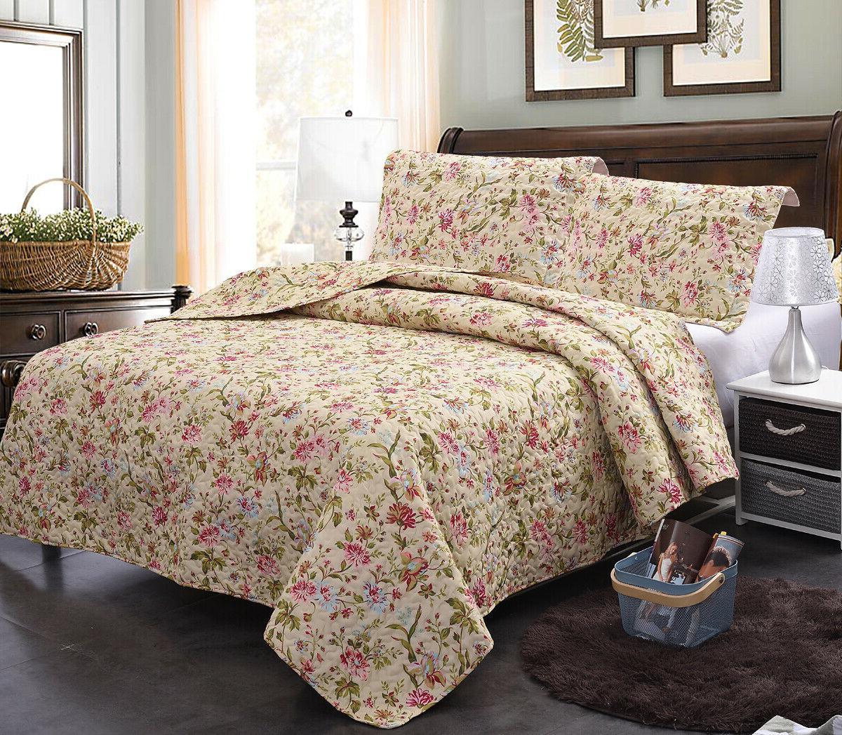 3-Piece Quilt Set Bedspread Spring Rose Floral Coverlet Reve