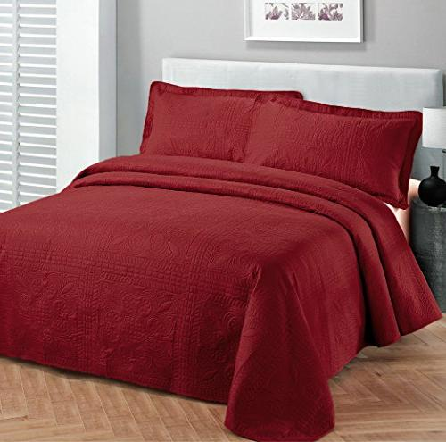 Fancy Bedspread Embossed Cover Red New