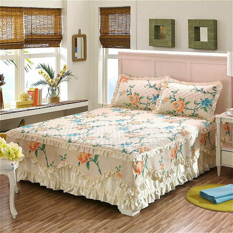 Cotton Floral Bed Skirts Quilted Sheet Full Queen Cases