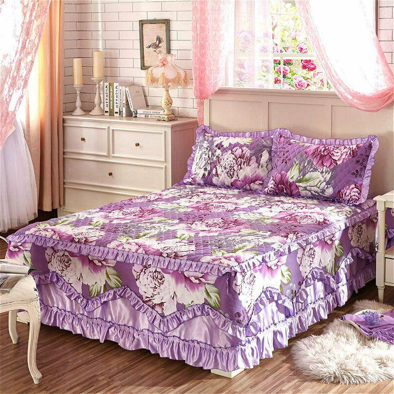 Cotton Thick Skirts Quilted Fitted Full Queen King Cases