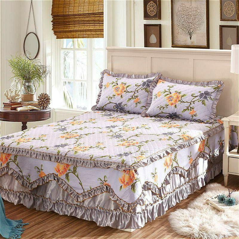 Cotton Floral Thick Skirts Quilted Fitted Full