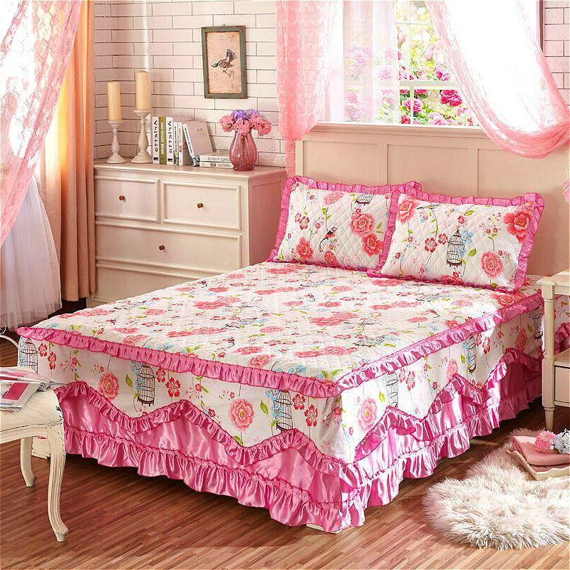 Cotton Floral Thick Skirts Quilted Fitted Sheet Full Queen Pillow Cases