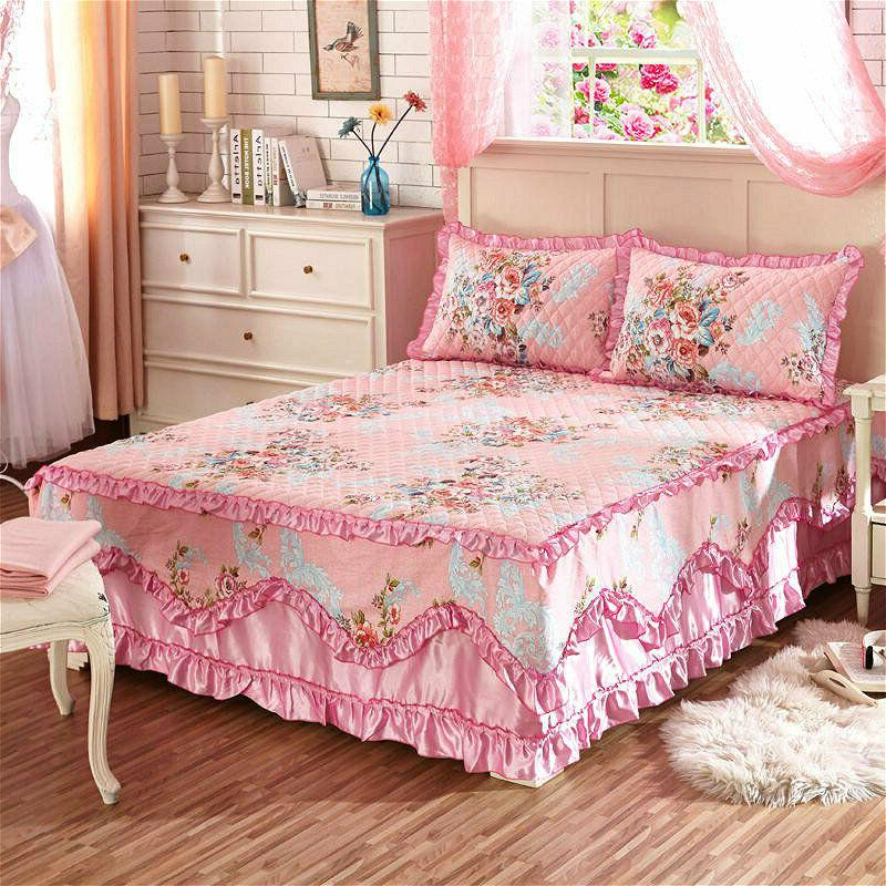 Cotton Thick Bed Skirts Quilted Fitted Full Queen Pillow Cases