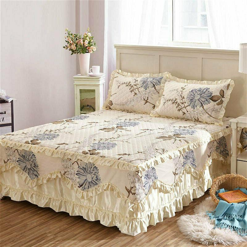 cotton floral thick bed skirts quilted fitted