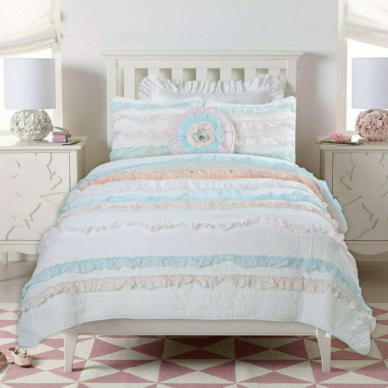 Devers Ruffle Lace 100%Cotton Coverlet