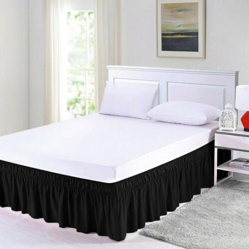 Elastic Bed Ruffle Wrap Around Covers Queen King