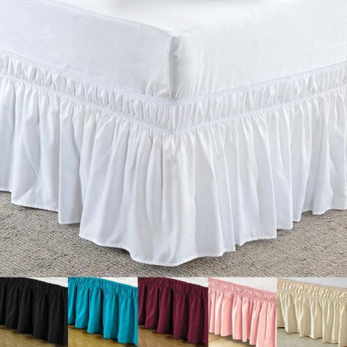 elastic bed skirt dust ruffle wrap around