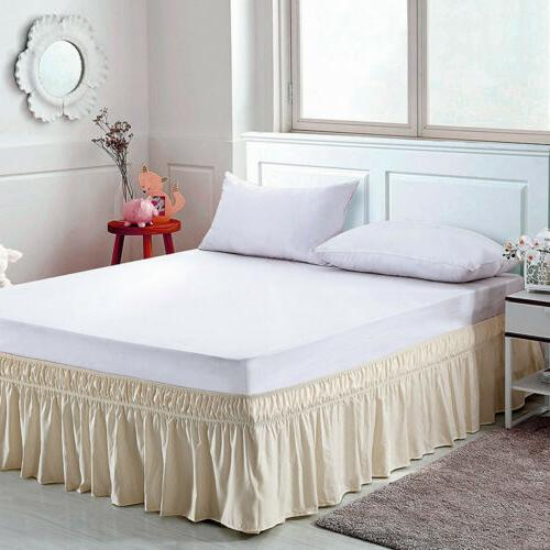 Elastic Bed Skirt Ruffle Around Bedspread Covers Twin Queen King