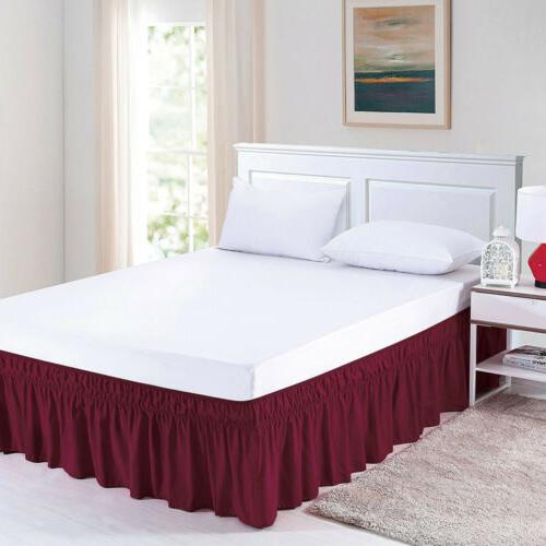 Elastic Bed Dust Ruffle Wrap Around Bedspread Covers King