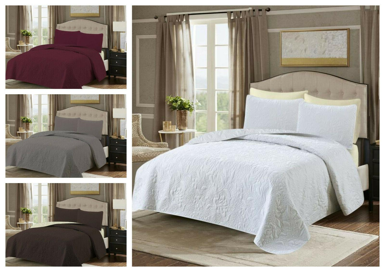 Embossed Reversible Piece Bed spread Bedding + Pillow