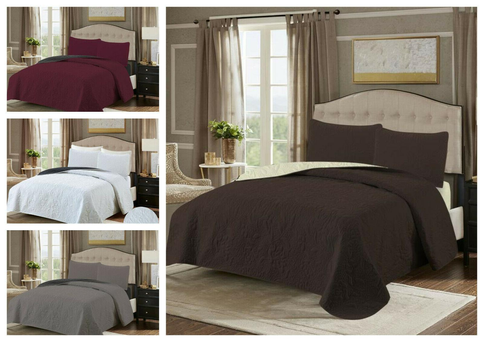 embossed reversible 3 piece bed spread coverlet