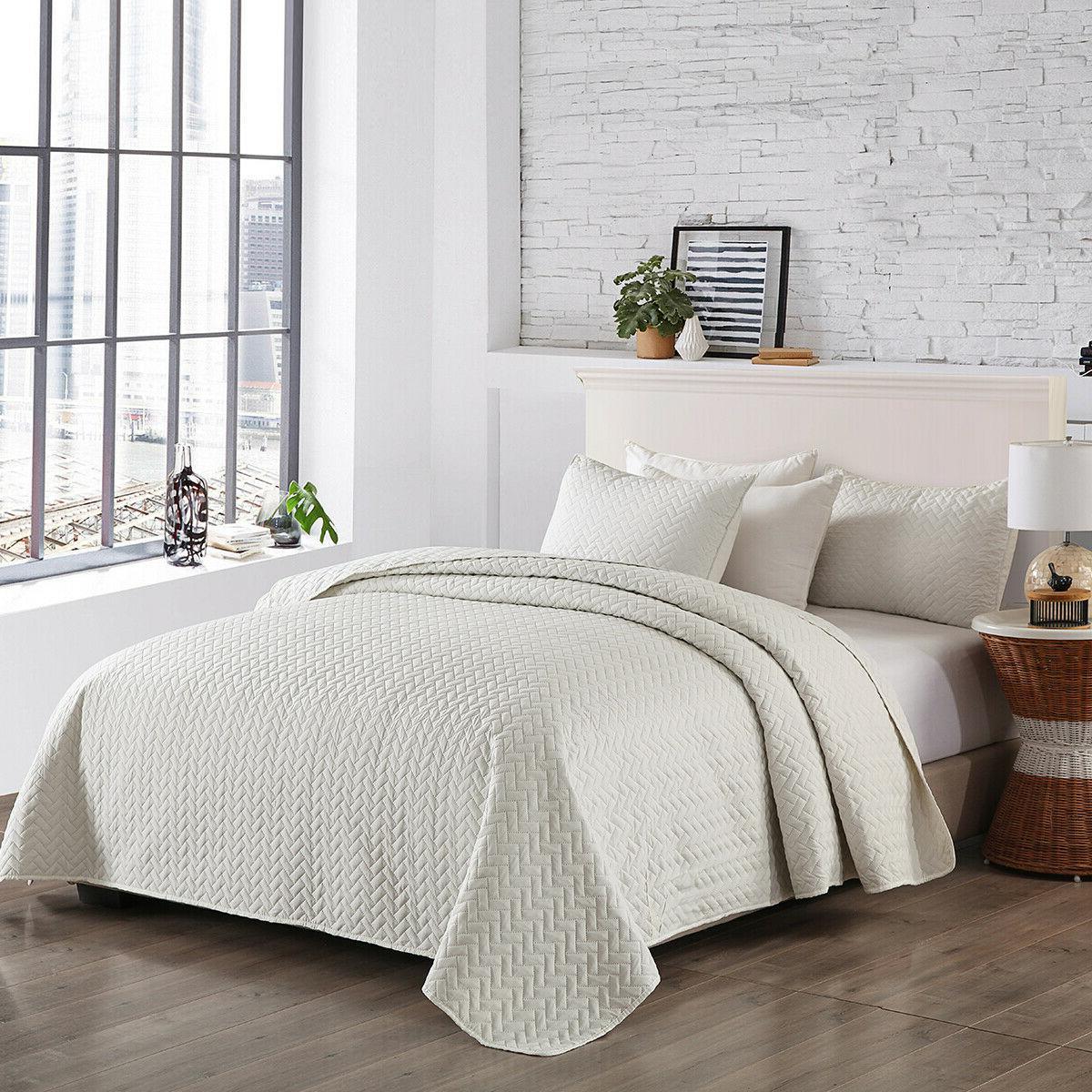 3-Piece Bedspread Coverlet Set Quilt Set Solid Color Queen/K