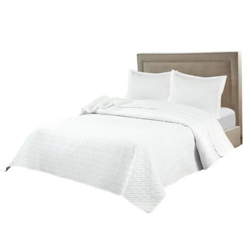 Embossed Reversible Bedspread Coverlet Quilt Twin King