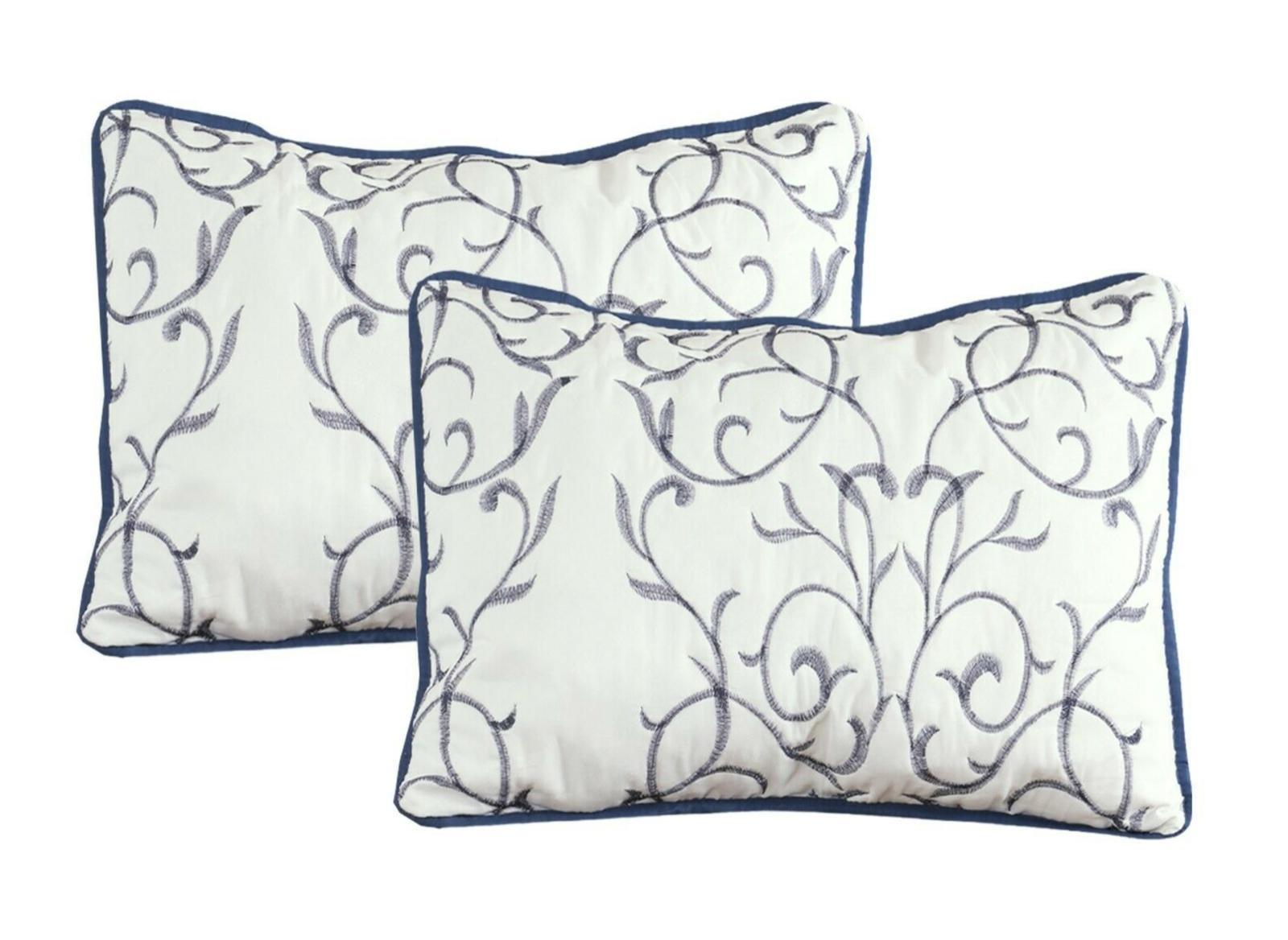 Embroidered Cotton Blend Reversible Bedding Set Modern