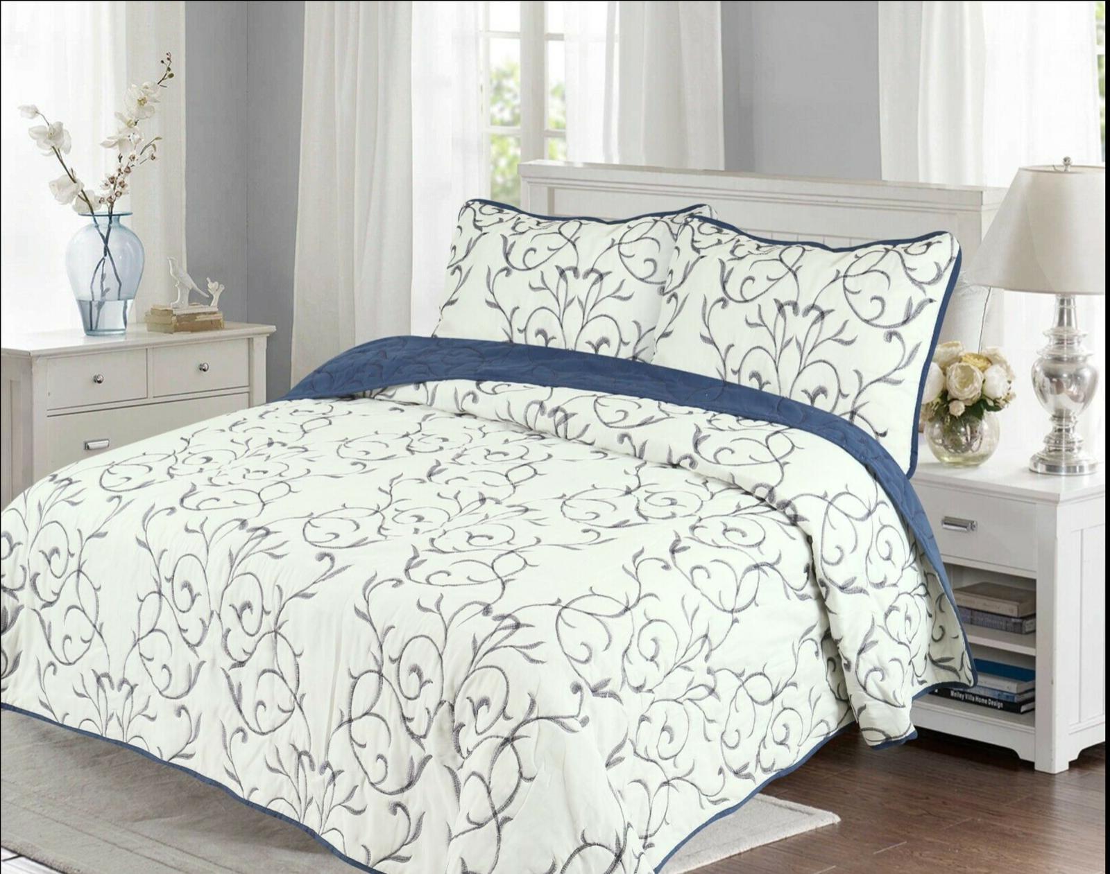 embroidered cotton blend soft reversible bedding bedspread