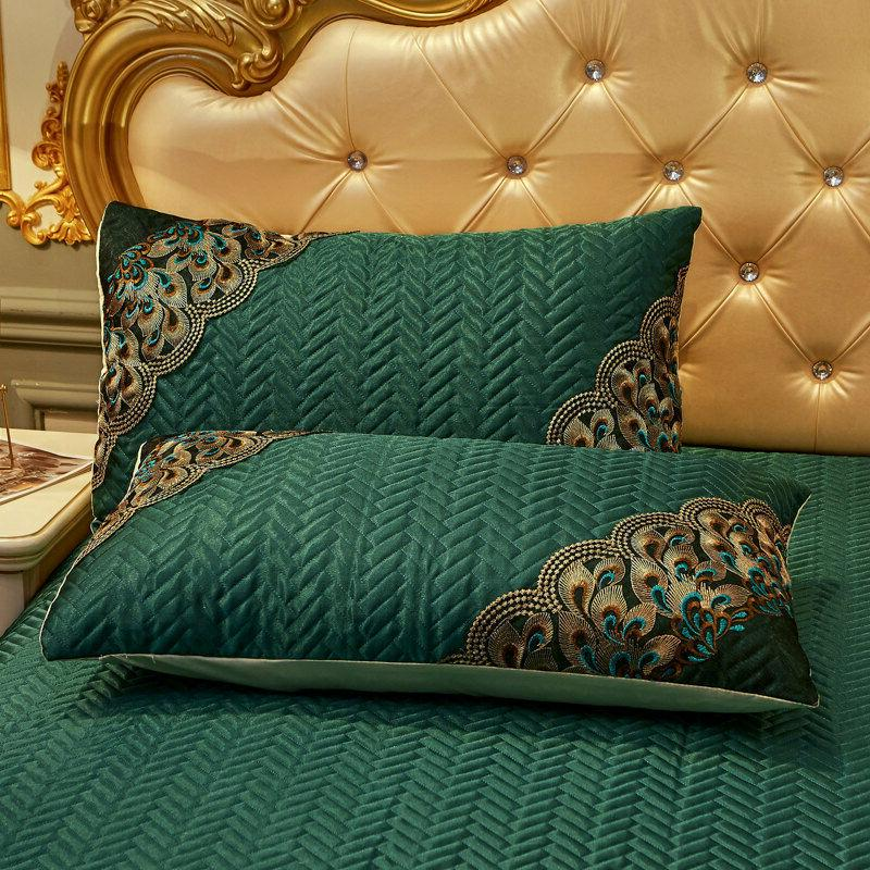 Europe Solid Bedspread Quilted Cool Ice Silk Bedskirt