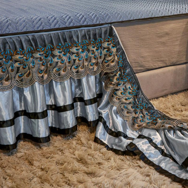 Europe Lace Summer Bedspread Silk Bedskirt