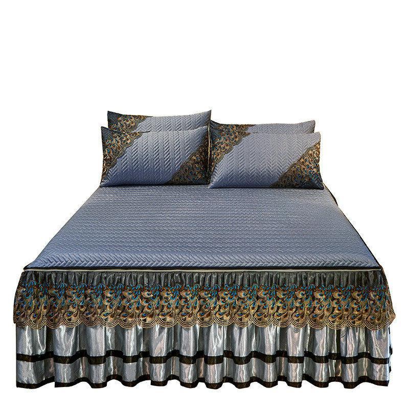 Bedspread Silk Bedskirt Zipper Folding