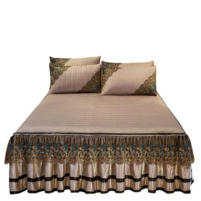 Europe Lace Bedspread Quilted Cool Ice Silk Bedskirt Folding