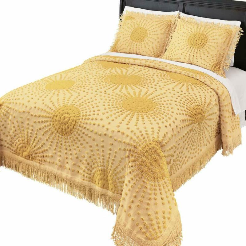 fringe border bedspread solid colored sunburst chenille