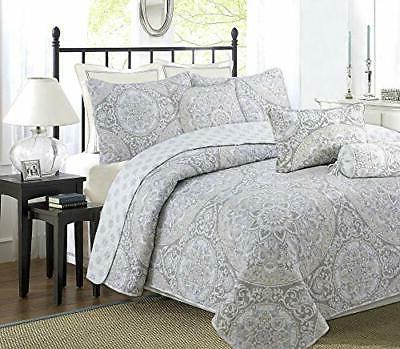 gray medallion reversible bedding quilt set bedspread