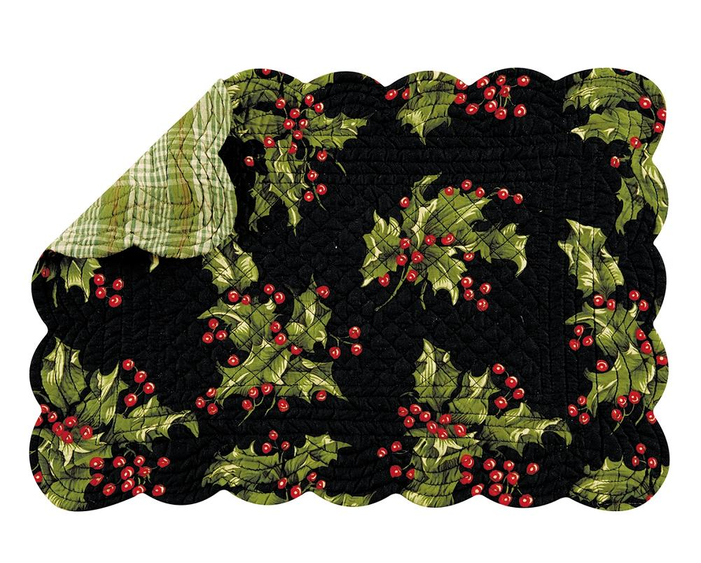 holly and berries on black christmas quilted
