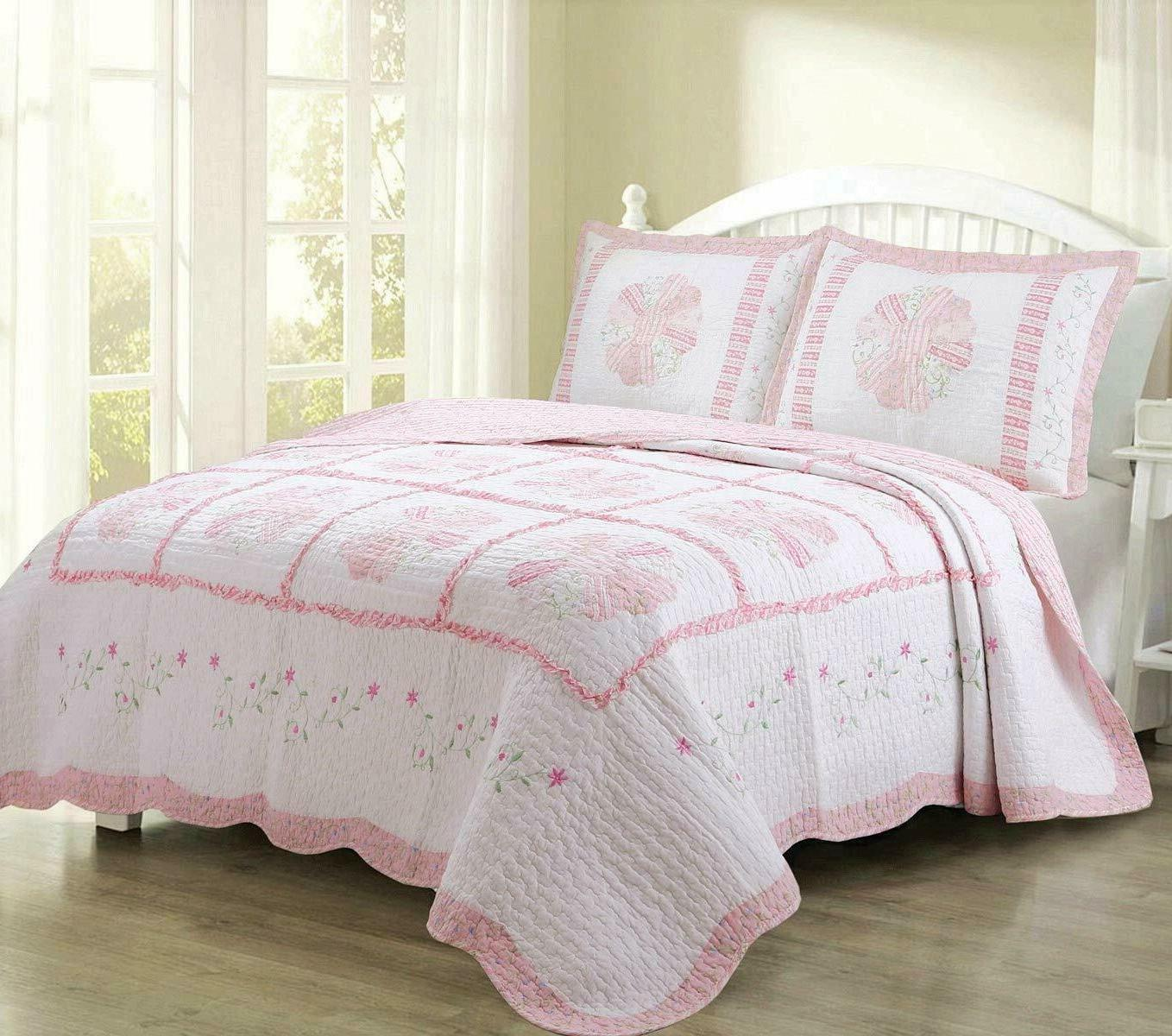 King Quilt Set Colorful Pink Floral Chic Home Decor Bedding