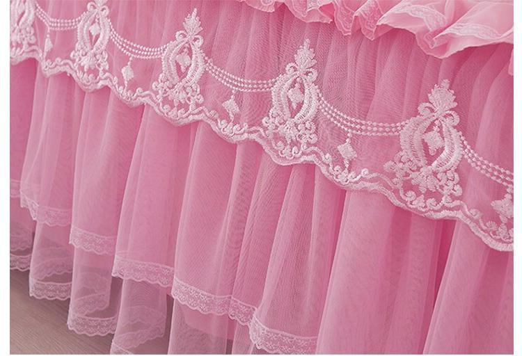 Korea <font><b>Bed</b></font> <font><b>Skirt</b></font> 1/3pc Solid Color Cover King Queen