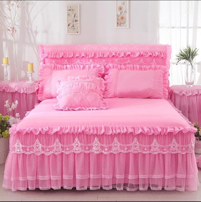 Korea Lace Ruffle <font><b>Bed</b></font> <font><b>Skirt</b></font> Pillowcases 1/3pc Solid Princess Fitted