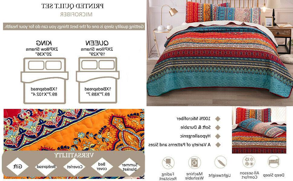 Lightweight Ethnic Warm Soft Coverlet Set