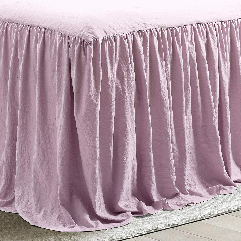 Lush Purple Ruffle Skirt Bedspread Shabby Chic Full 3 Piece Set